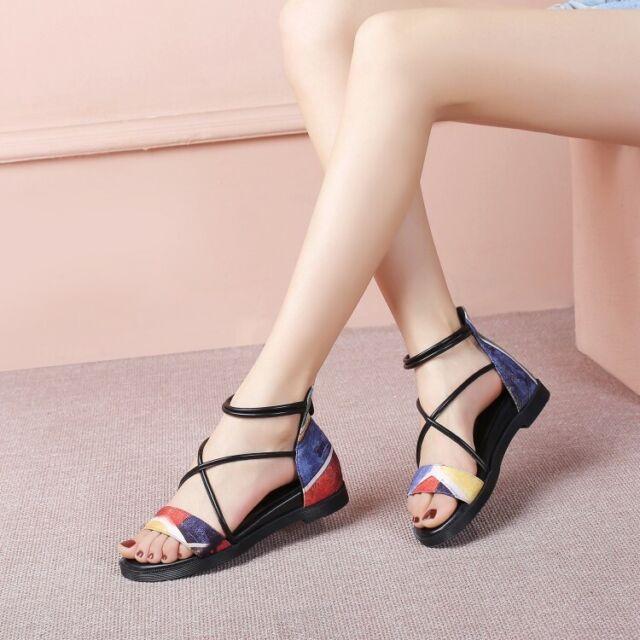 Womens Ankle Strap Open Toe Flat Heel Sandals Fashion Casual Summer Sneaker Shoe