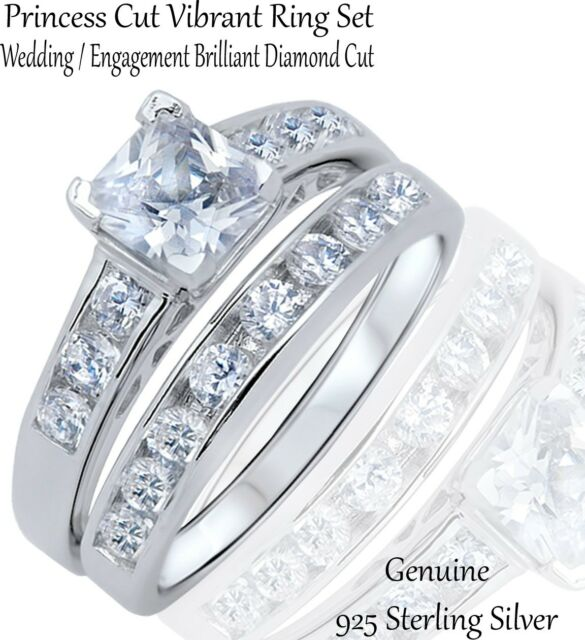 Vibrant Clear Princess Cut Wedding / Engagement Genuine Sterling Silver Ring Set