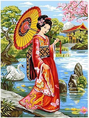 Geisha with Fan Grafitec Printed Tapestry//Needlepoint Kit