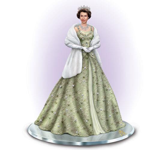 Bradford Exchange Reflections of Queen Elizabeth Figurine with Crystals