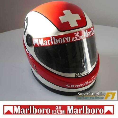 Helmet Visor Sticker Clay Regazzoni F1 fan 1980/'s Racing all red back ground
