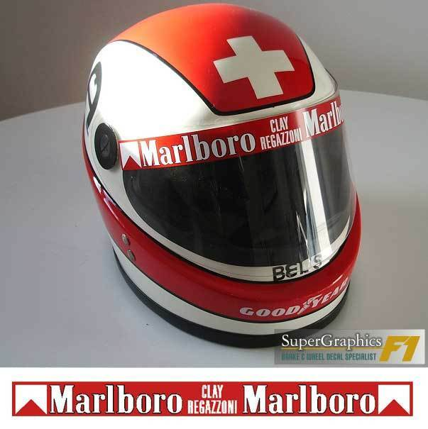 Helmet Visor Sticker Clay Regazzoni F1 fan 1980's Racing all red back ground