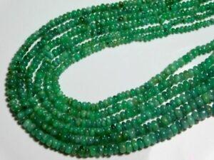 Emerald-3-4mm-diameter-100-Precious-Plain-Rondelle-Gemstone-Beads-23-Carats