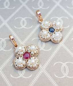 Victorian-Inspired-Pearl-amp-Sapphire-or-Ruby-Four-Leaf-Clover-Necklace