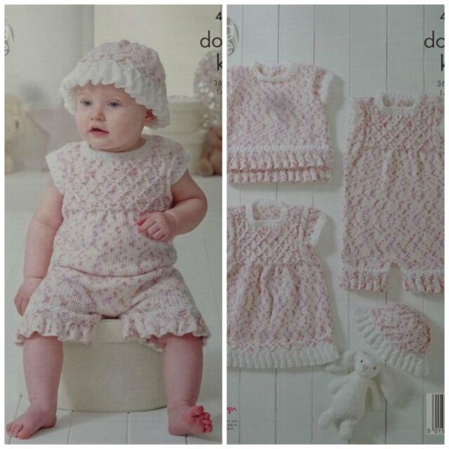 King Cole Double Knitting Pattern 4901 Baby Set 14 22 In Ebay