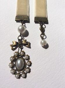 Faux Pearl & Beige Velvet Bookmark, Handmade in Aus, Book Mark Gift Free Post