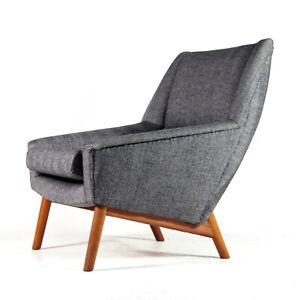 Retro-Vintage-Danish-Teak-amp-Wool-Easy-Chair-Lounge-Armchair-Mid-Century-50s-60s