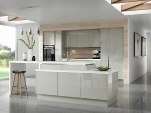 Piece Kitchen Units Light Grey Gloss Handless Rigid Built - Gloss grey kitchen units