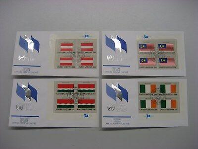4 X Uno Ny, 397-412 Flaggen 82, 16 Fdc Genfer Cachet Mit Evb = 64 Fdc! Schmerzen Haben