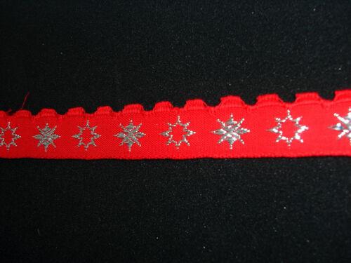 Webband Bordüre Borte Weihnachten Glitzersterne rot Lurex 15 mm