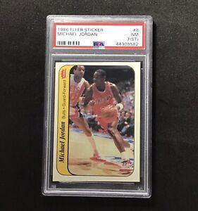 1986-Fleer-Sticker-8-MICHAEL-JORDAN-Basketball-Card-Bulls-ROOKIE-PSA-7-st