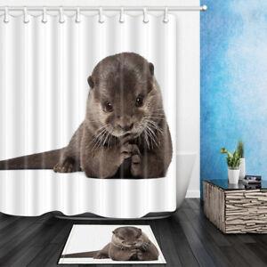 Image Is Loading 3D Sea Otter Shower Curtain Bathroom Waterproof Fabric