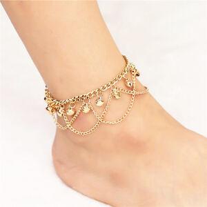 Anklet GOLD Bead Chain Women Ankle Bracelet Barefoot Sandal Beach