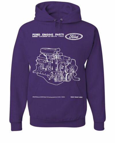 Ford Moteur Pièces Sweat à capuche 6 Cylindre Moteur Sweat