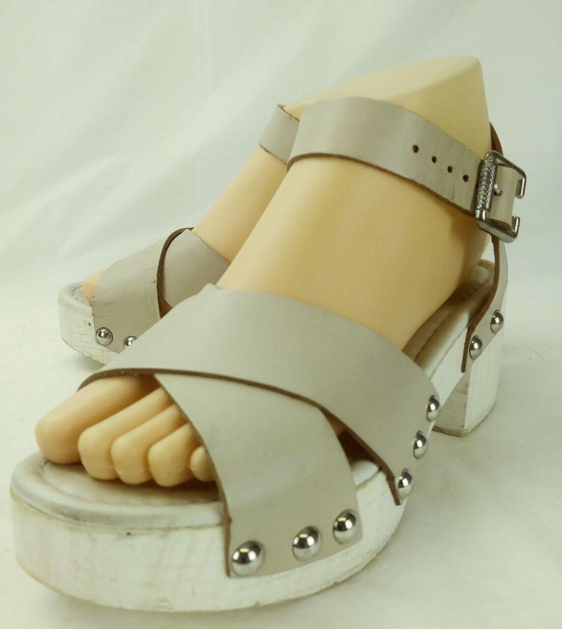 Sandro Rosi Wos Heels Sandales EU 38 Beige Leder Studded Ankle Strap  2192