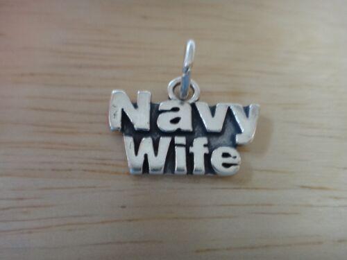 Sterling Silver 12x18mm dit bleu marine femme militaire charme!