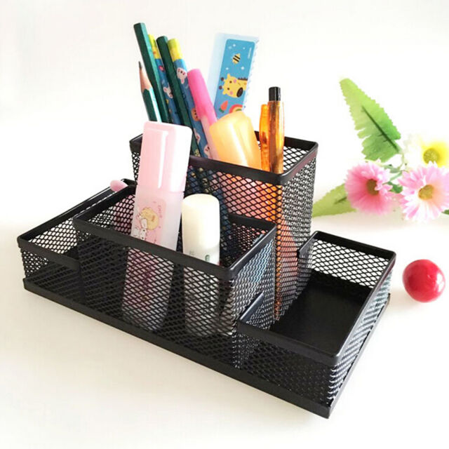 Metal Mesh Home Office Pen Pencil Holder Desk Stationery Storage Organizer Pip