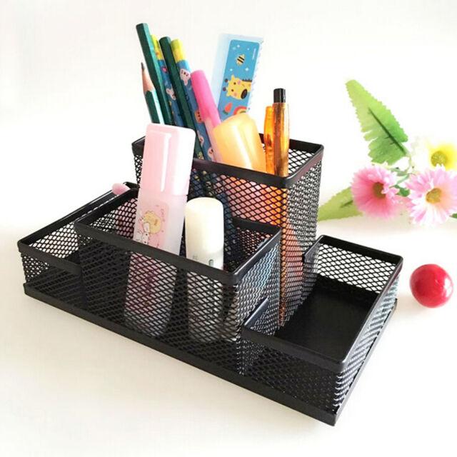 Metal Mesh Home Office Pen Pencil Holder Desk Stationery Storage Organizer Box O