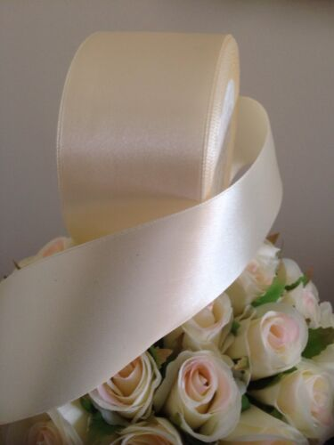 IVORY SATIN RIBBON 50mmx 7 metres wedding decorating FLAT PACKED Freepost