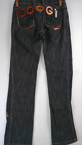 Coogi-Australia-Embroidered-Jeans-Juniors-5-6-Black-Wash-30-x-32-Actual-Pants