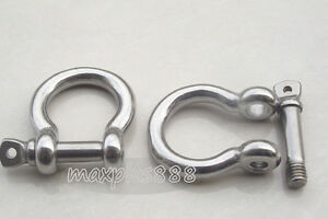 2pcs M10 High strength Buckle Bow shackles 304 stainless steel NEW
