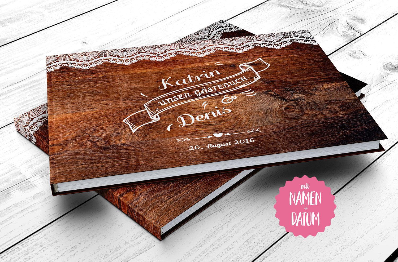Gästebuch Hochzeit - PERSONALISIERT - Vintage Wooden, Fotobuch, Geschenk