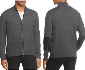 NEW-198-MICHAEL-KORS-CHARCOAL-WOOL-BLEND-SLIM-FIT-LEATHER-PIPED-SWEATER-JACKET