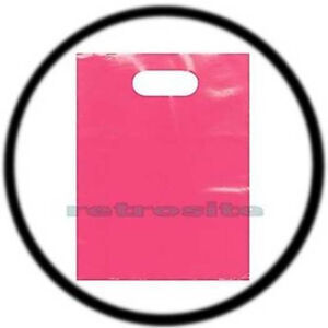 100-Count-12-034-x-15-034-Pink-Low-Density-Glossy-Merchandise-Plastic-Bags-w-Handles