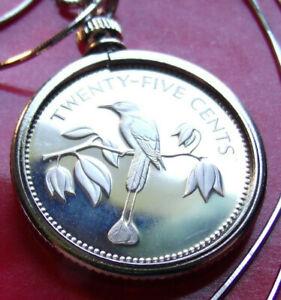 1974-Belize-Island-Flycatcher-Silver-Coin-Pendant-on-a-20-034-Italian-Silver-Chain