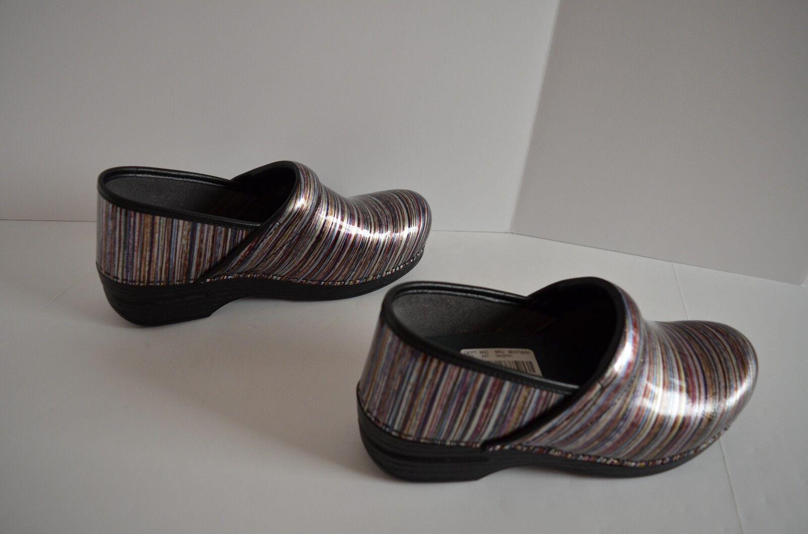 NEW DANSKO XP Professional bluee Stripe Patent Leather Clog Comfort shoes Sz 11.5