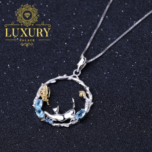 Details about  /Natural Swiss Blue Topaz 925 Silver Handmade Cat /& Butterfly Pendant Necklaces