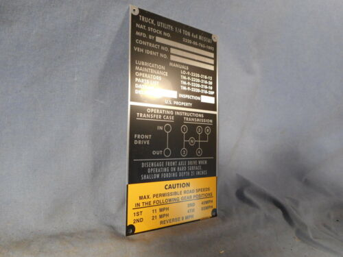 M151 A1 Series MUTT new operating instructions Data Plate