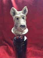 Stunning Bombay White Enameled Dog With Jewels Wine Bottle Stopper Cork