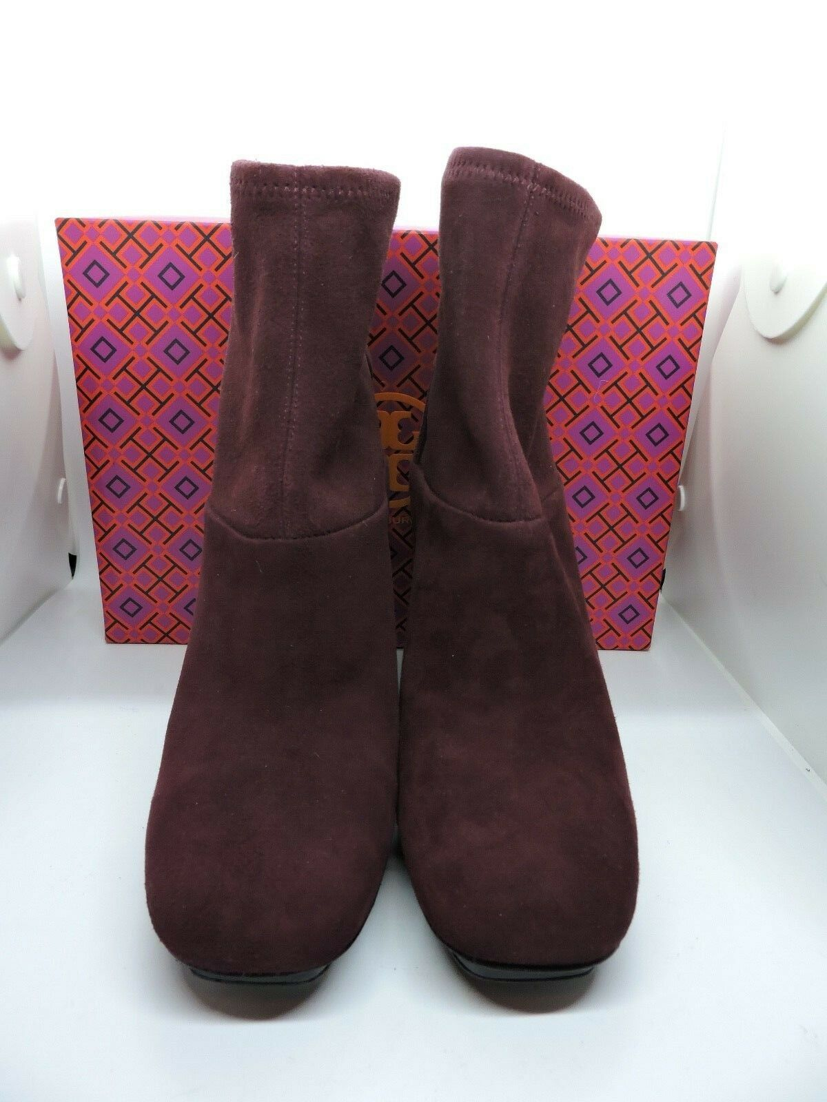 NIB  450 TORY BURCH SIDNEY 105MM PORT BOOTIE SUEDE SHORT BOOT 8