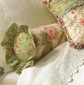 GARDEN DREAM FLORAL NECKROLL : COUNTRY ROSES ACCENT BED PILLOW