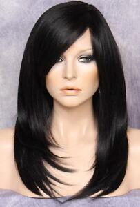 Silky Straight Wig Long Razor Cut Layers Bangs Black 1 Hairpiece Nwt