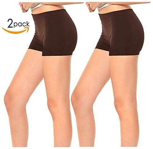 Gilbins 2 Pack Women/'s Seamless Stretch Yoga Exercise Shorts
