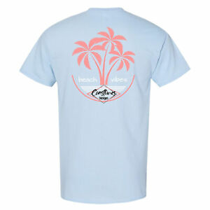 Coastlines-Designs-Beach-Vibes-on-a-Light-Blue-T-Shirt