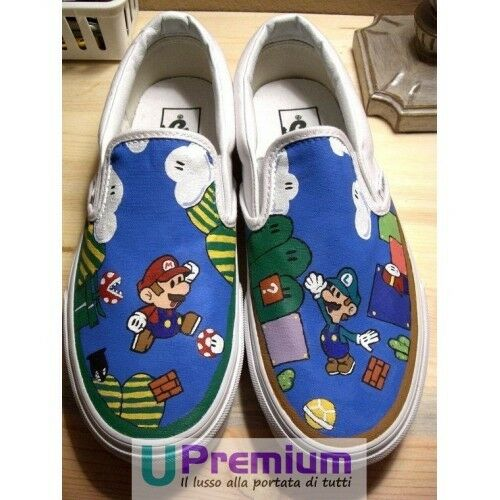 Vans Slip On Mario Bros & Luigi Disegnate a Mano Indelebile chaussures Disegnate Han