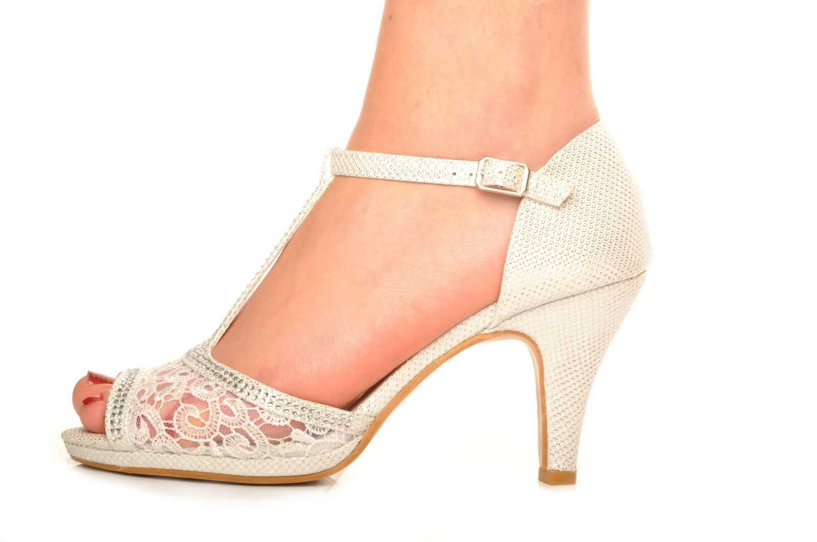 Off White Silver Glitter Lace Diamante Wedding Heels Evening Prom Peeptoe Shoes