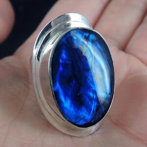 Quality-BLUE-PAUA-ABALONE-SHELL-amp-925-STERLING-SILVER-Ring-Size-M-UK-6-5-USA