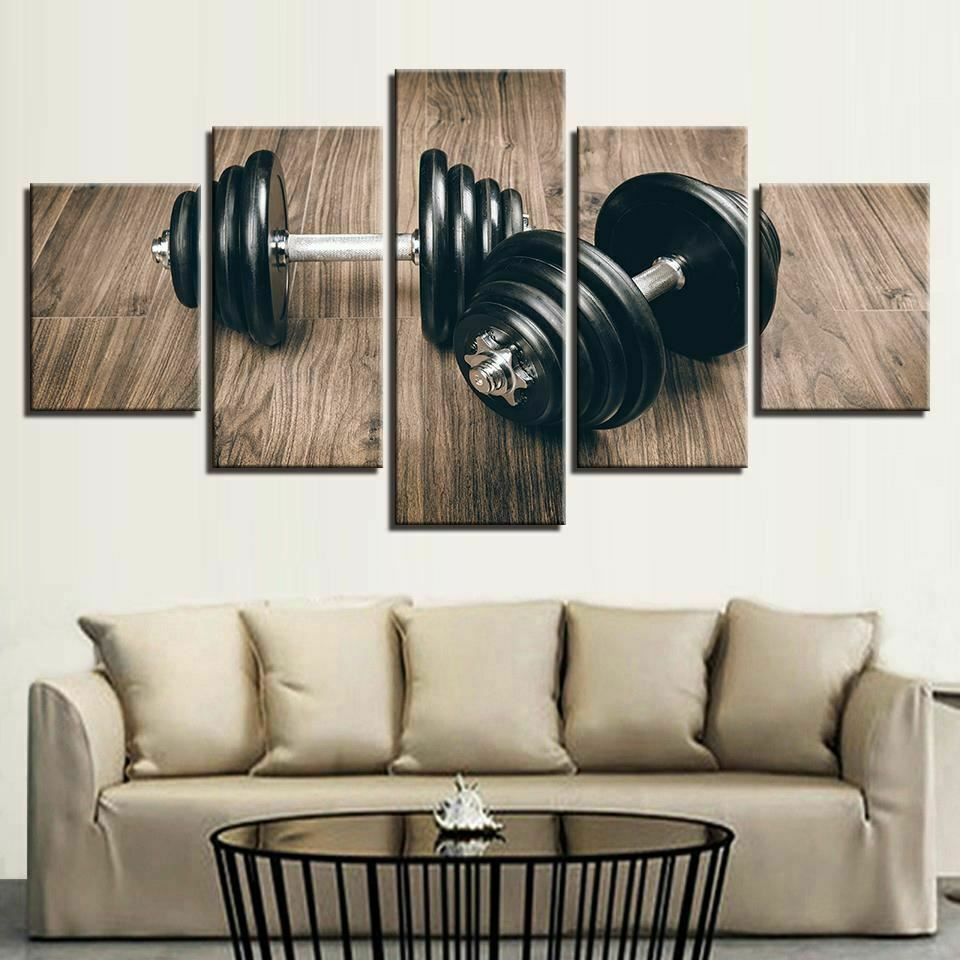 Dumbbells Weightlifting Gym Fit 5 panel canvas Wall Art Home Decor Poster Print