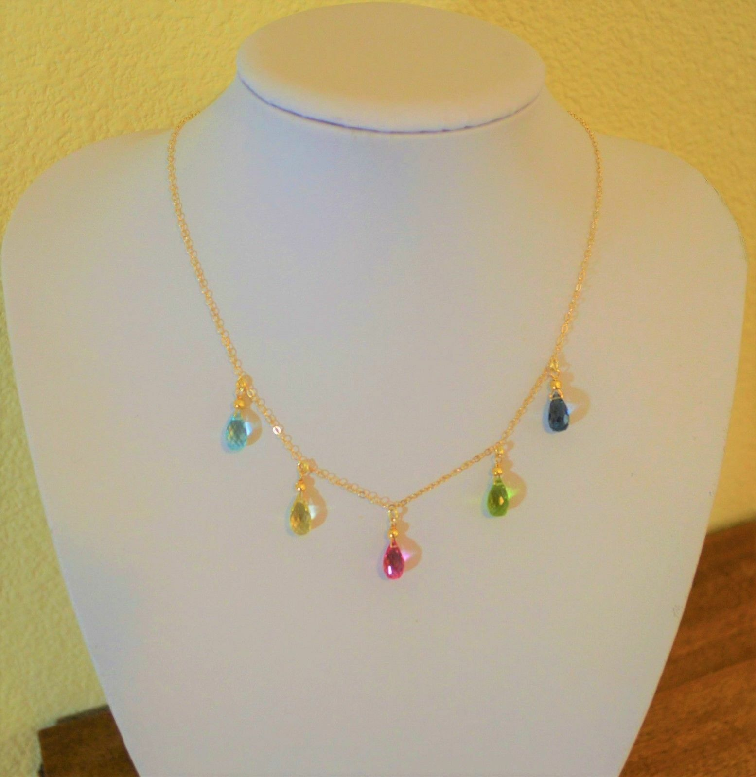 Beautiful Faceted Multi color Gemstone Pear Briolette Dangle Station Yellow gold