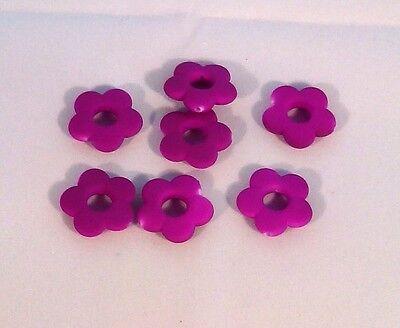 10 perles FLEURS Magique Satin acrylique violet fluo 19 mm