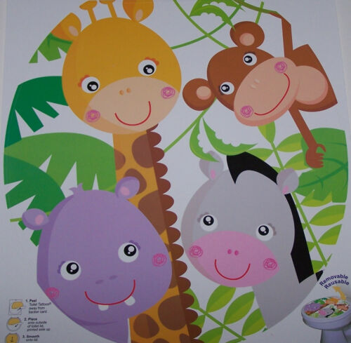 Factory New Toilet Tattoo Bathroom Toilet Decal Zoo Jungle Animals Kid Wow Round