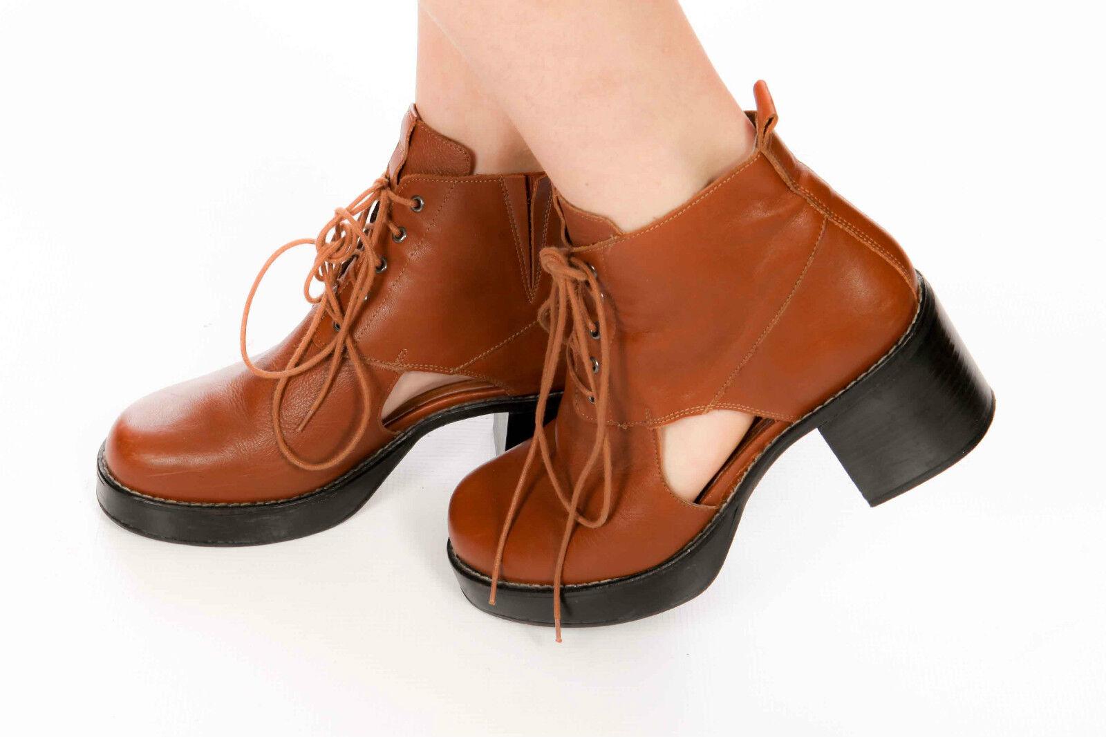 Grueso De Cuero Tostado Topshop botas al tobillo con Cordones de cortar partes