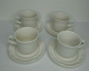 Pfaltzgraff Gazebo Set of (4) Coffee Mug Tea Cup and Saucer White Scalloped Edge