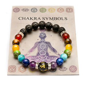1f2864759 Image is loading 7-Chakra-Crystal-Stones-Bracelet-Healing-Beads-Jewellery-
