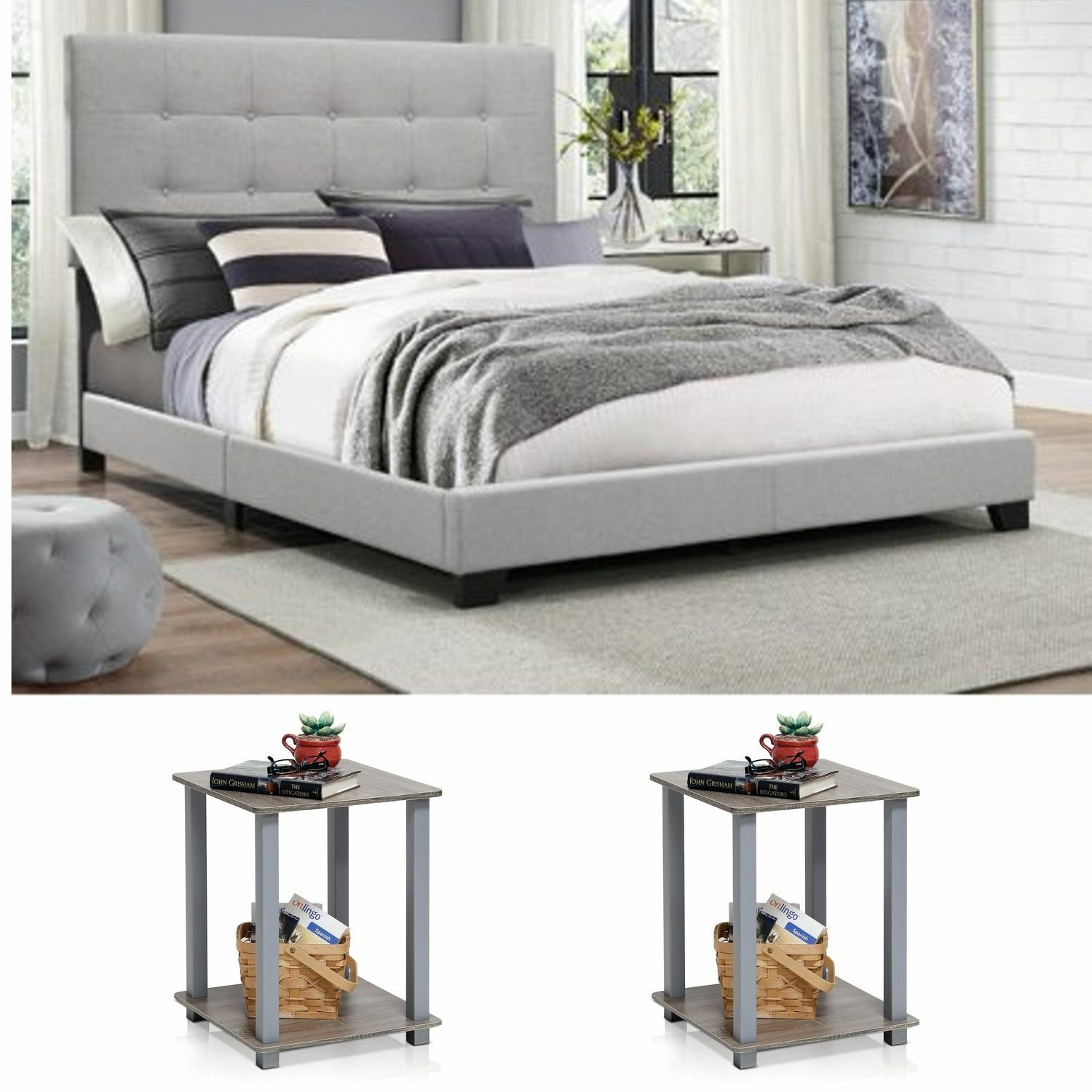 Contemporary King Bed Gray Wood Finish Fabric Headboard Home Bedroom Furniture For Sale Online Ebay