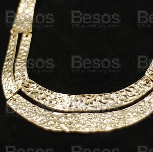 RETRO hammered GOLD POLISH FASHION NECKLACE collar TEXTURED chain BNWT UK GIFT